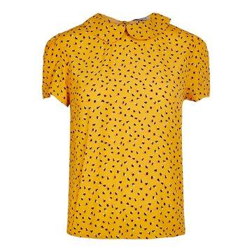 Pieces Pieces T-Shirt Geel Met Bloemen & Kraagje