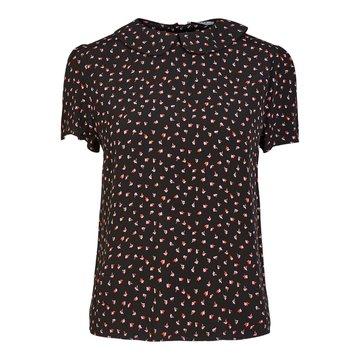 Pieces Pieces T-Shirt Zwart Met Bloemen & Kraagje