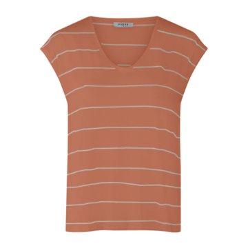 Pieces Pieces T-Shirt Met V-Hals & Strepen Bruin/Wit