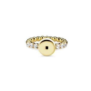 Mi Moneda MMV Icons Ring Round With White Swarovski Crystals Goudkleurig 54