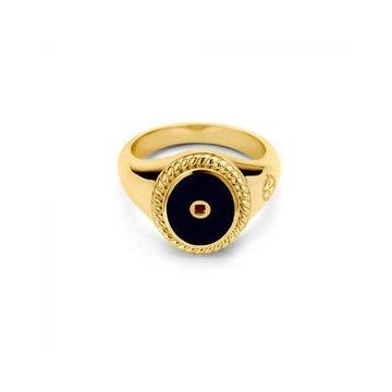 Mi Moneda MMM Icons Ring Oval Goudkleurig & Black Enamel Maat 58