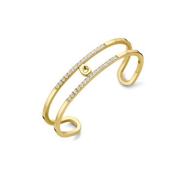 Melano Melano Twisted Trixie CZ Bangle Armband Goudkleurig
