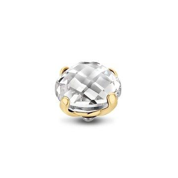 Melano Melano Twisted Stone Facet Bold 10mm Crystal Goudkleurig