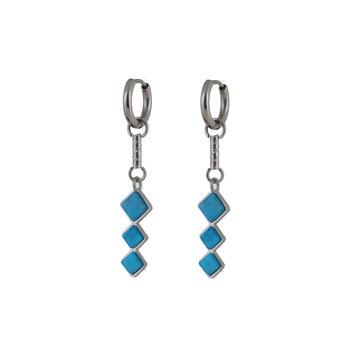 Go Dutch Label GDL Zilverkleurige Oorbellen Triple Turquoise Stones
