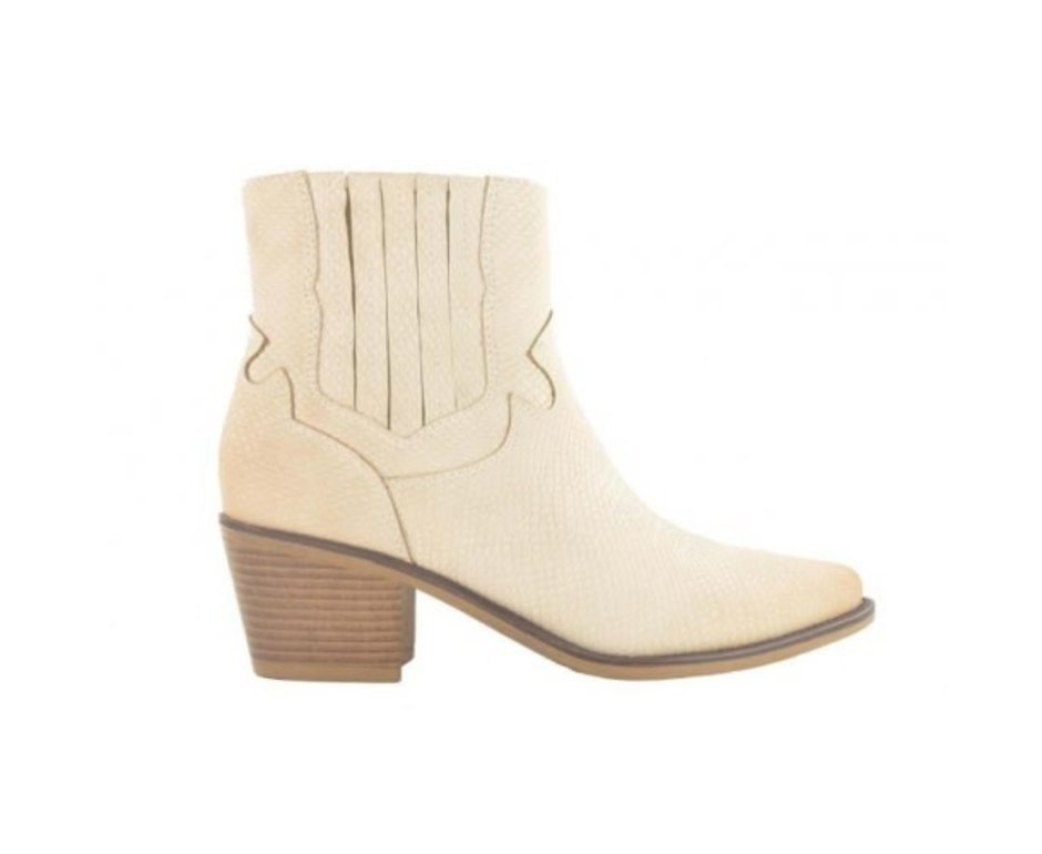 Fabs Shoes Fabs Western Ankle Boots Beige