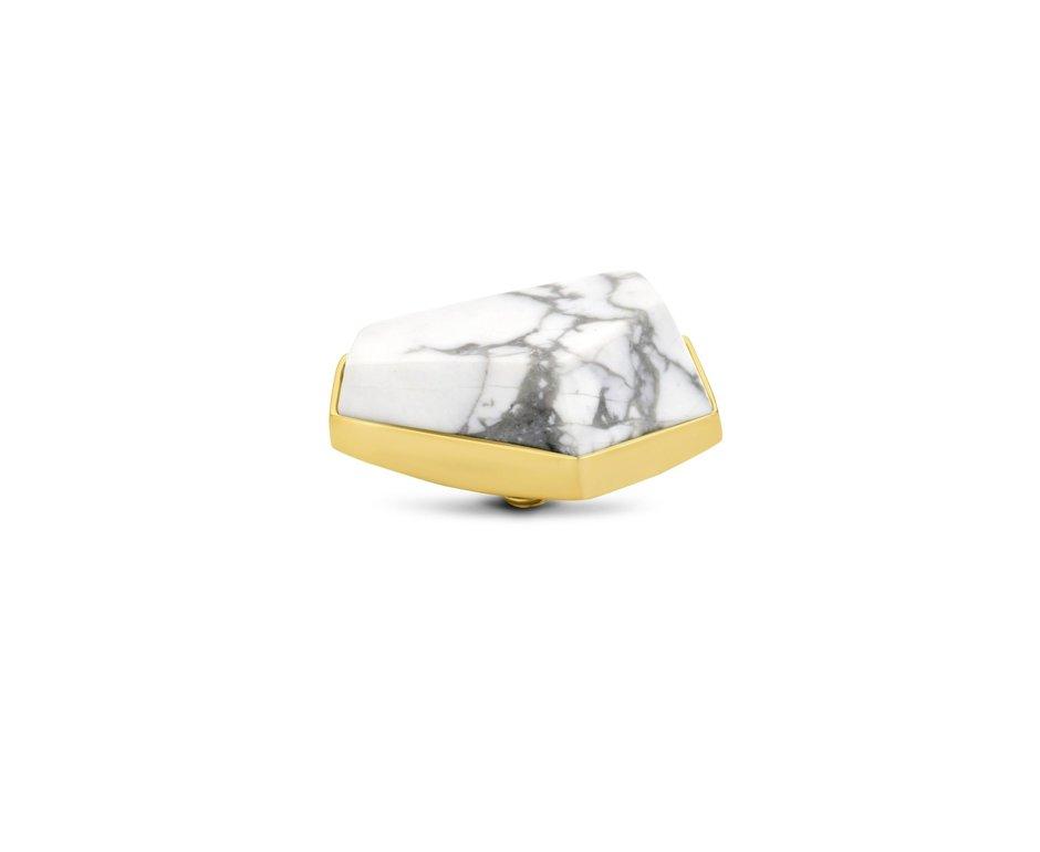 Melano Melano Twisted Geo Stone 20mm Howlite Goudkleurig