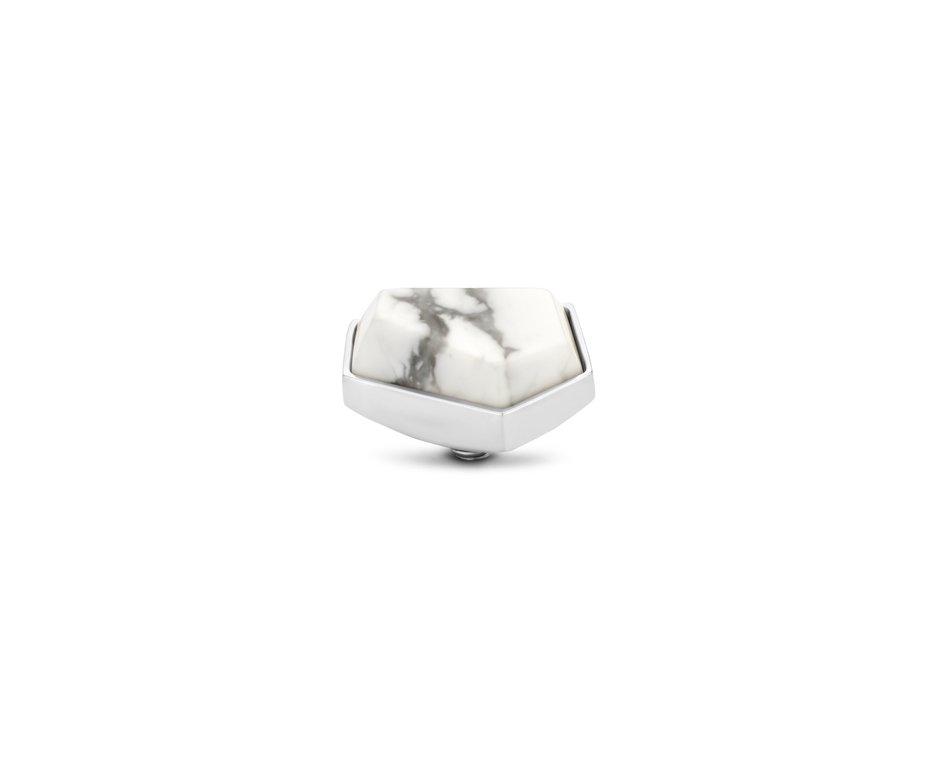Melano Melano Twisted Stone Geo 12mm Howlite Zilverkleurig