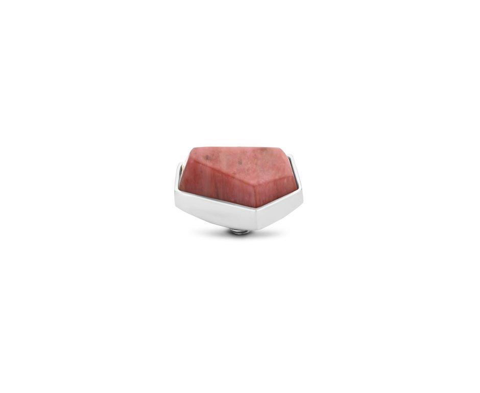 Melano Melano Twisted Stone Geo 12mm Rhodonite Zilverkleurig