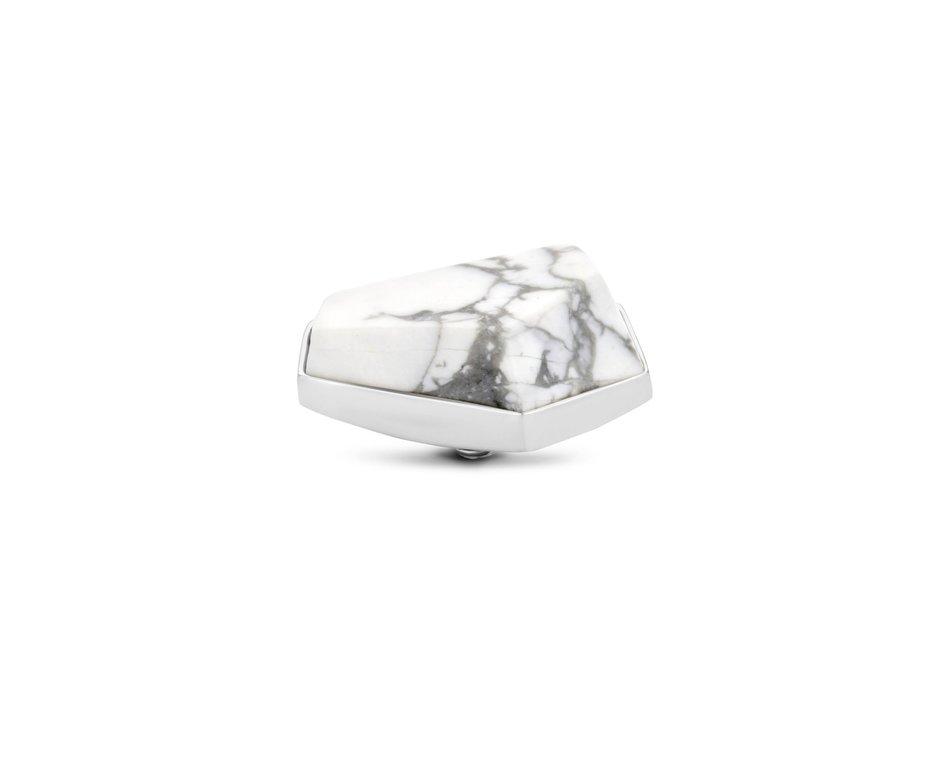 Melano Melano Twisted Stone Geo 20mm Howlite Zilverkleurig