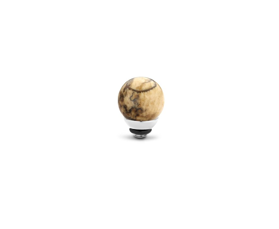 Melano Melano Twisted Gem Ball 8mm Picture Jasper Zilverkleurig