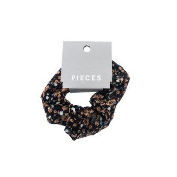 Pieces Pieces  Scrunchie Black Flower