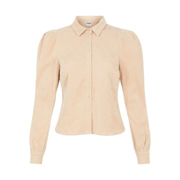 Noisy May Noisy May Beige Corduroy Blouse Met Pofmouwen