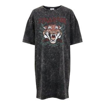 Noisy May Noisy May Washed T-Shirt Jurk Zwart Met Tijger