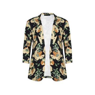 Lofty Manner Lofty Manner Blazer Met Bloemen Zwart/Geel
