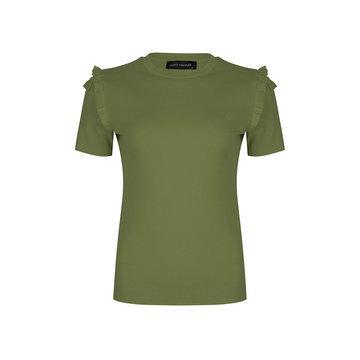 Lofty Manner Lofty Manner Groen T-Shirt Met Ruffles