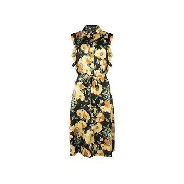 Lofty Manner Lofty Manner Zwarte Jurk Met Gele Bloemen