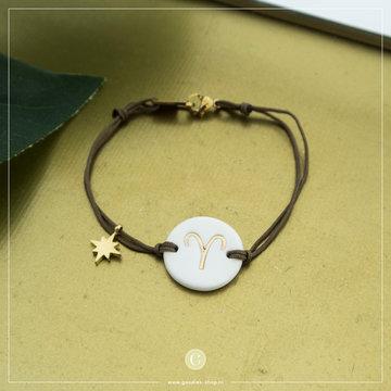 Zag Bijoux Zag Bijoux Armband Koord Sterrenbeeld Ram