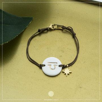 Zag Bijoux Zag Bijoux Armband Koord Sterrenbeeld Weegschaal