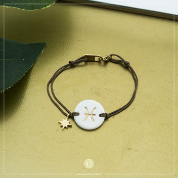 Zag Bijoux Zag Bijoux Armband Koord Sterrenbeeld Vis