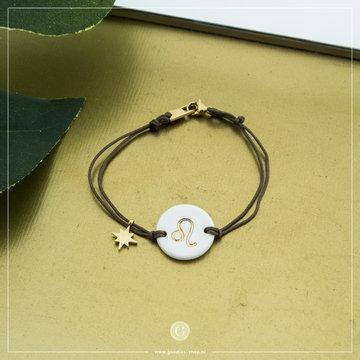 Zag Bijoux Zag Bijoux Armband Koord Sterrenbeeld Leeuw