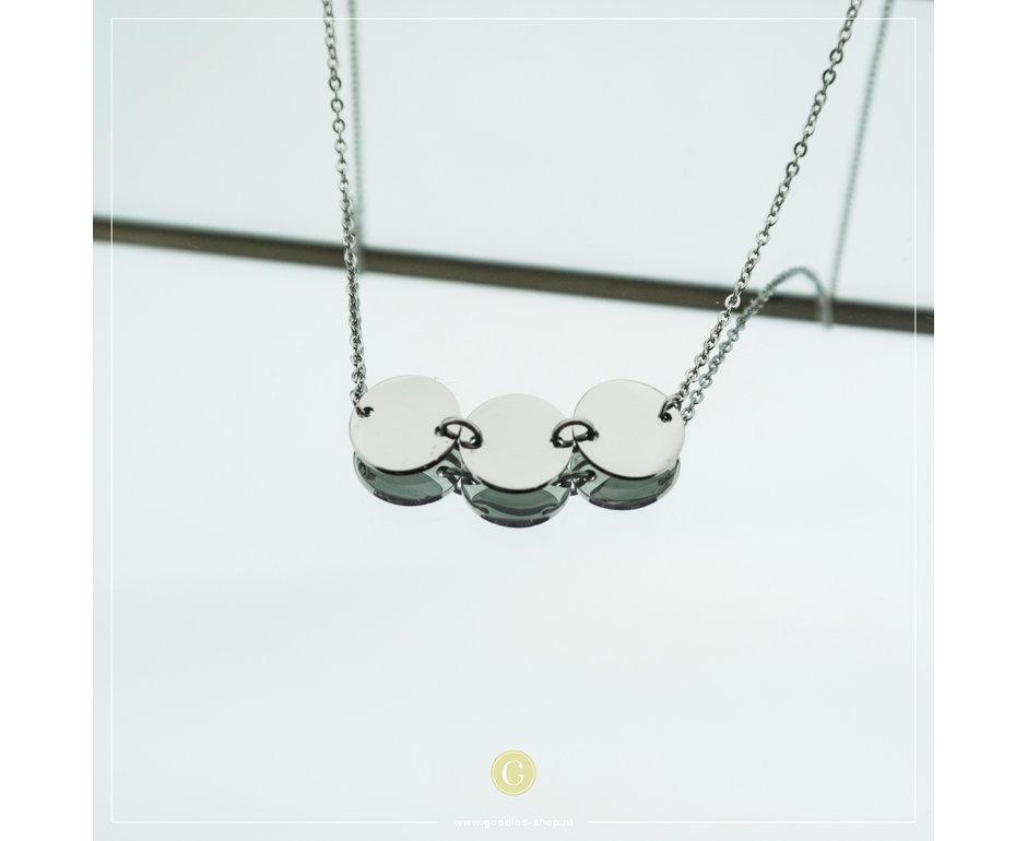 Zag Bijoux Zag Bijoux Necklace Triple Discs Zilverkleurig