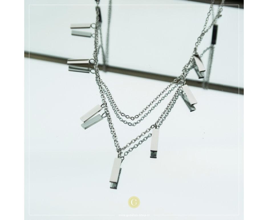 Zag Bijoux Zag Bijoux Necklace Tubes Zilverkleurig