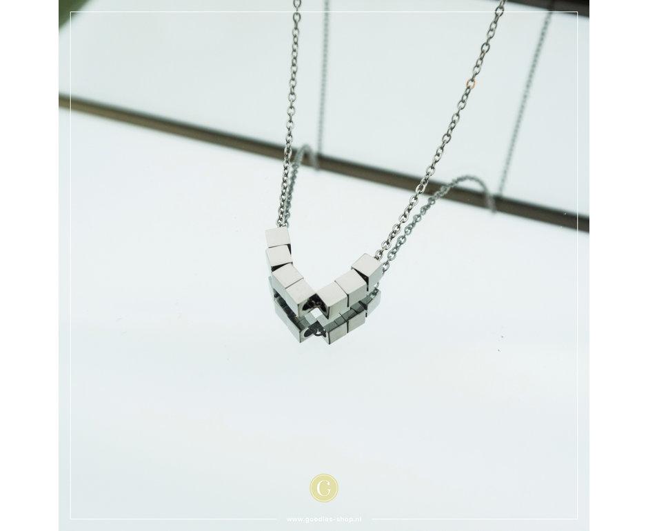 Zag Bijoux Zag Bijoux Necklace Cubes Zilverkleurig