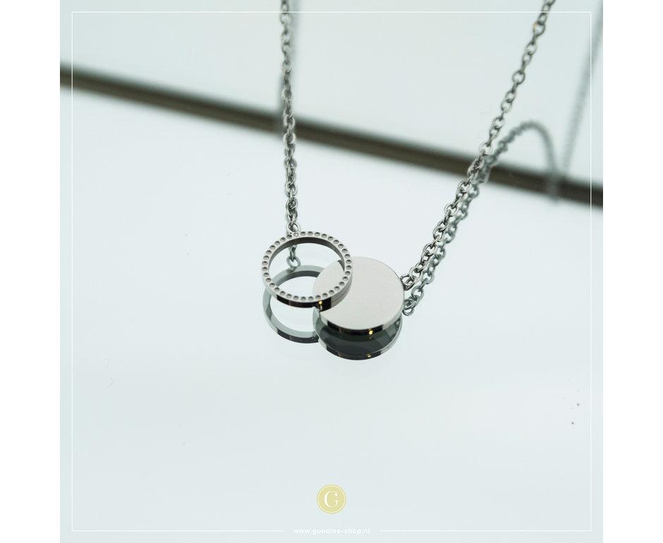 Zag Bijoux Zag Bijoux Necklace Double Circle Zilverkleurig