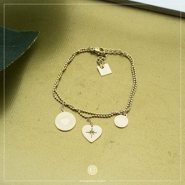 Zag Bijoux Zag Bijoux Goudkleurige Armband 3 Hartjes