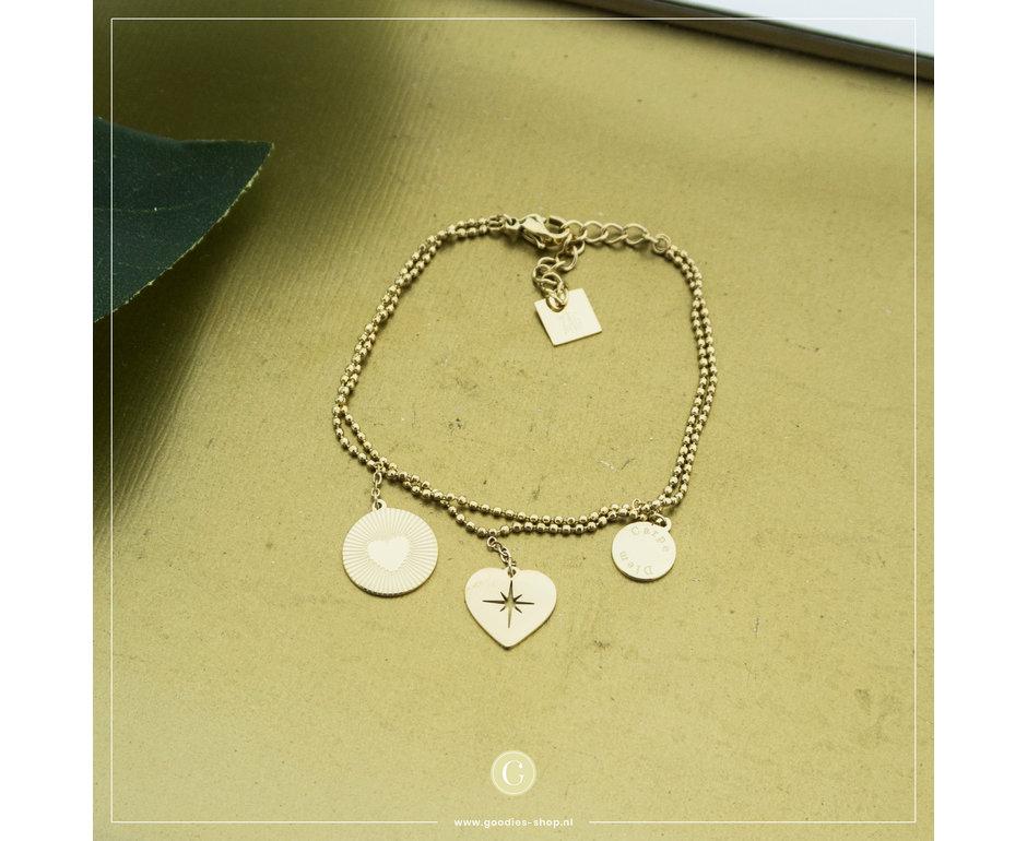 Zag Bijoux Zag Bijoux Bracelet 3 Hearts Goudkleurig
