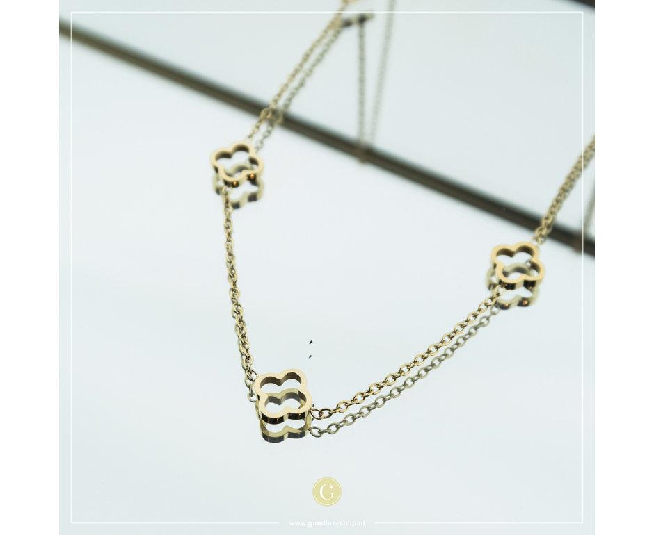 Zag Bijoux Zag Bijoux Necklace Clover Goudkleurig