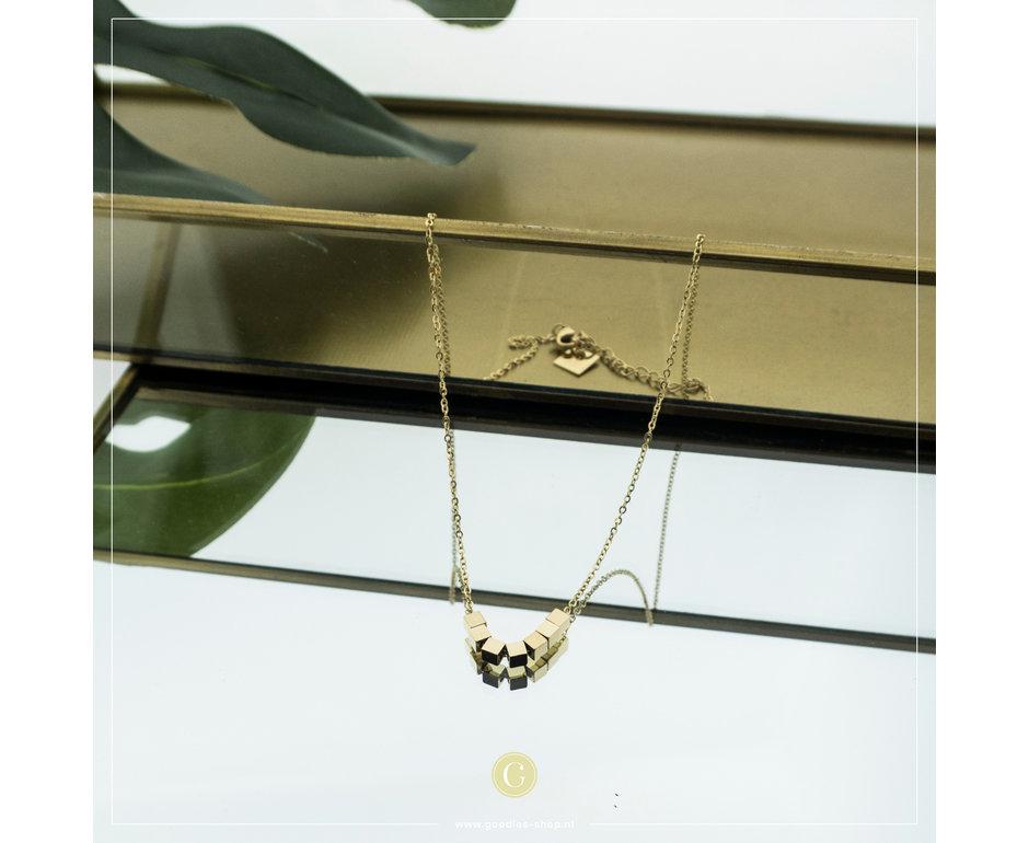 Zag Bijoux Zag Bijoux Necklace Cubes Goudkleurig