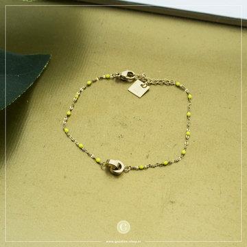 Zag Bijoux Zag Bijoux Goudkleurige Armband Gele Beads