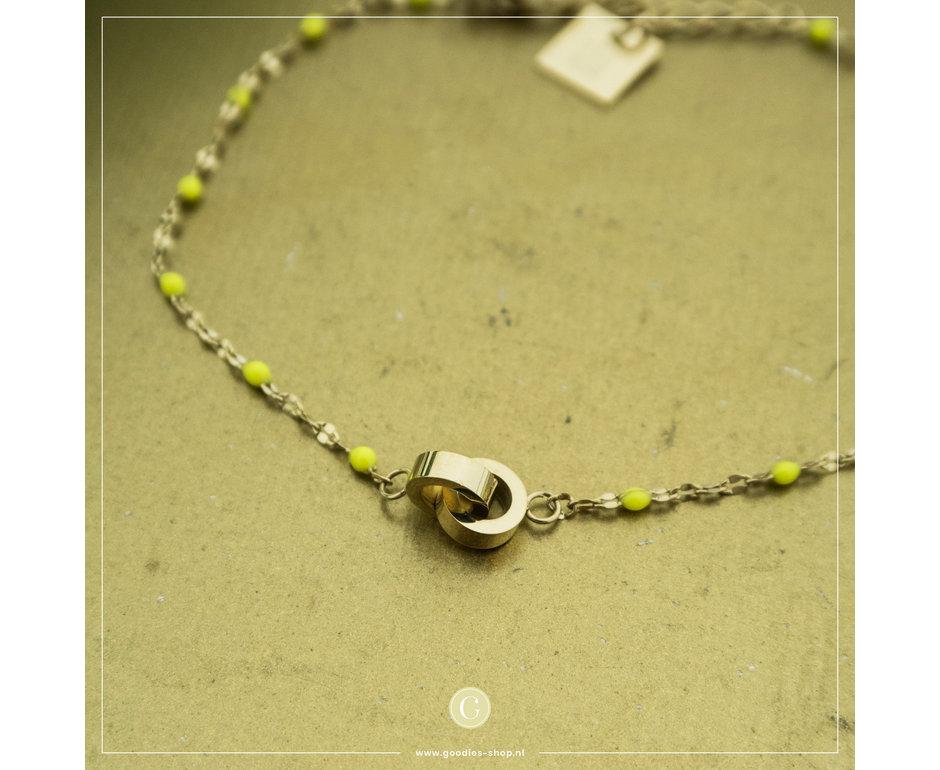 Zag Bijoux Zag Bijoux Bracelet Yellow Beads Goudkleurig