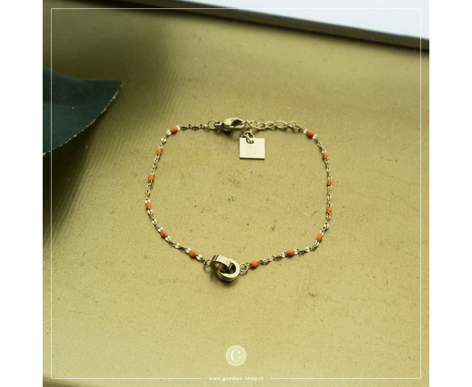 Zag Bijoux Zag Bijoux Bracelet Orange Beads Goudkleurig