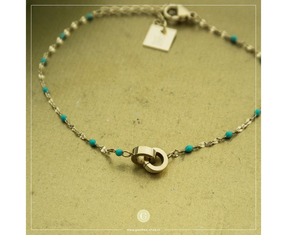 Zag Bijoux Zag Bijoux Bracelet Turquoise Beads Goudkleurig