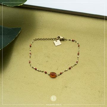 Zag Bijoux Zag bijoux Goudkleurige Armband Oranje Bead
