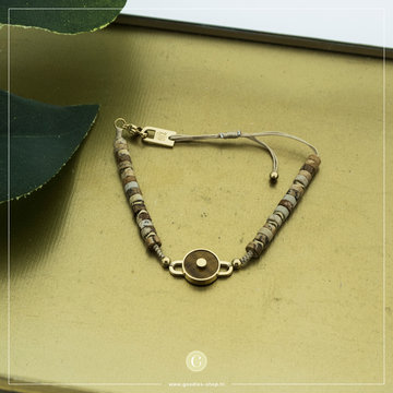 Zag Bijoux Zag Bijoux Goudkleurige Armband Ronde Tiger Stone