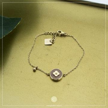 Zag Bijoux Zag Bijoux Goudkleurige Armband Ronde Roze Stone