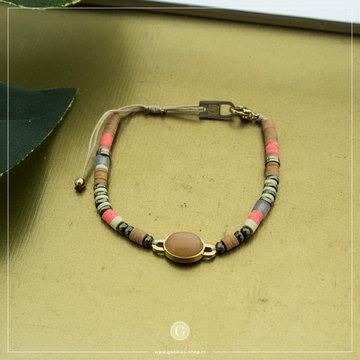 Zag Bijoux Zag Bijoux Goudkleurige Armband Beads & Stone