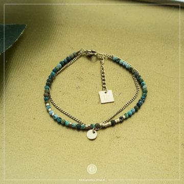 Zag Bijoux Zag Bijoux Goudkleurige Armband Groene Beads