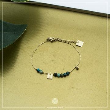 Zag Bijoux Zag Bijoux Goudkleurige Armband Turquoise Beads