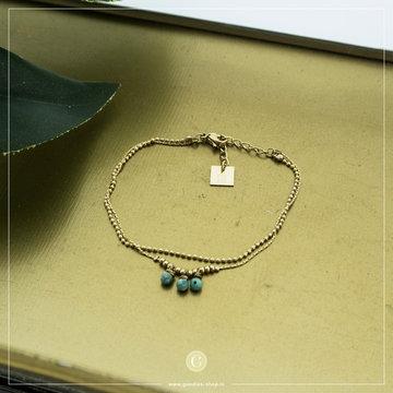 Zag Bijoux Zag Bijoux Goudkleurige Armband Met Turquoise Beads
