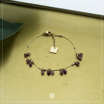 Zag Bijoux Zag Bijoux Goudkleurige Armband Paarse Beads