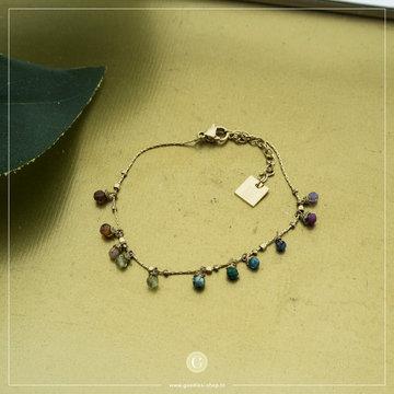 Zag Bijoux Zag Bijoux Goudkleurige Armband Gekleurde Bead