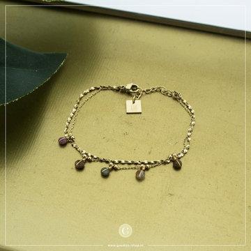 Zag Bijoux Zag Bijoux Goudkleurige Armband Gekleurde Beads