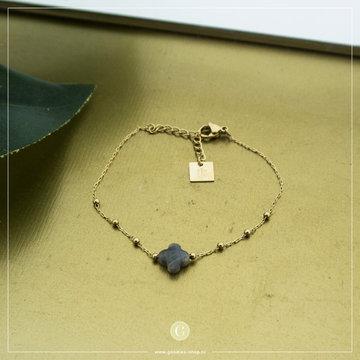 Zag Bijoux Zag Bijoux Goudkleurige Armband Grijs Klavertje Vier
