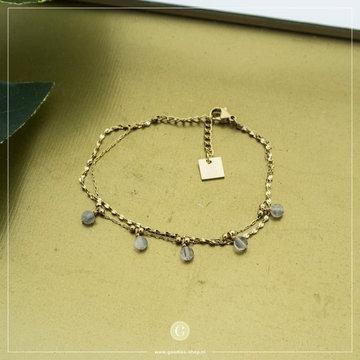 Zag Bijoux Zag Bijoux Goudkleurige Armband Grijze Beads