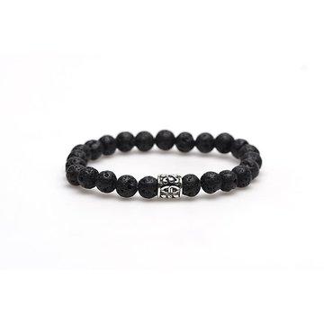 Karma Black Rocks silver logo bead