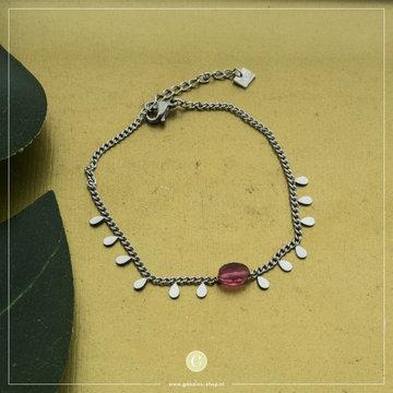By Jam Gioielli By Jam Zilverkleurige Armband Druppels & Steen Roze